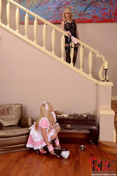 Stocking and lingerie clad blonde anally fucks cute blonde maid in uniform