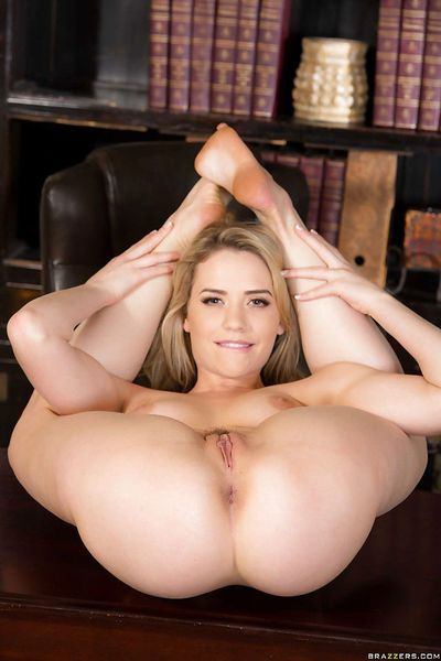 Solo girl Mia Malkova spreading hairy pussy in high heels at office - part 2