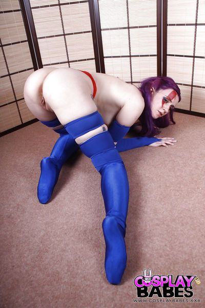 Solo girl Vellocet struts in cosplay uniform before spreading pussy - part 2