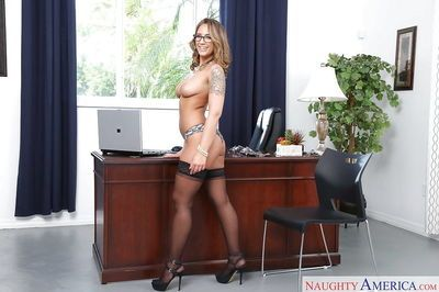 Glasses wearing blond babe Layla London baring big secretary tits in office - part 2