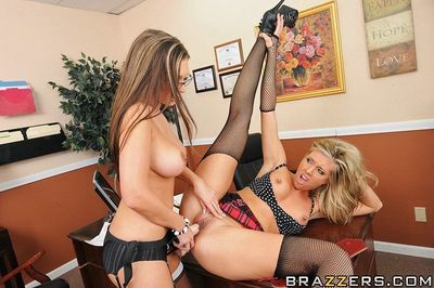 Samantha Saint has some lesbian fun with her office mate using sex toys - part 2