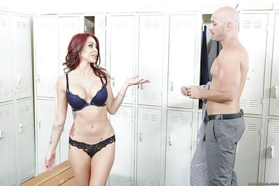 Redhead babe Monique Alexander is sucking this pretty tasty dong!