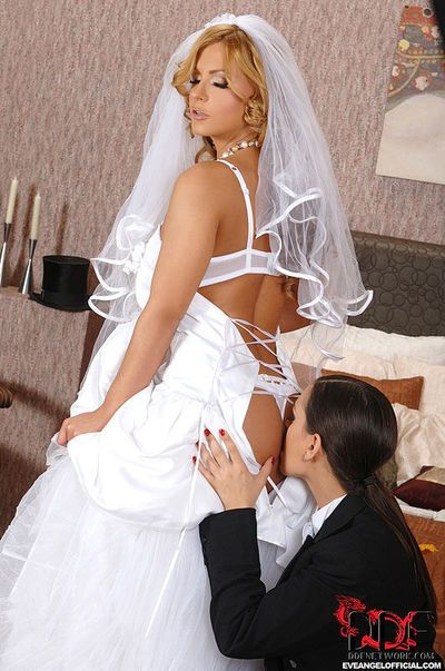 Dorothy Black & Eve Angel fucking with strapon cock after lesbian wedding
