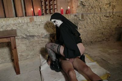 European female getting nailed while wearing creepy Nun costume - part 2