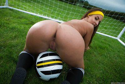 Leggy babe Amirah Adara slipping shorts over big butt outdoors in socks - part 2