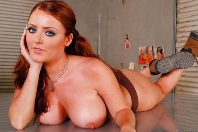 Chubby redhead in uniform Sophie Dee strips naked to play with pussy - part 2