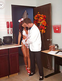 Chippy latina nurse in red fishnet nylons gets screwed by a hung doctor