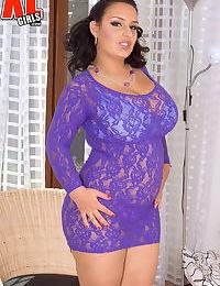 Brunette BBW Anna Carlene frees her knockers from see thru dress and bra