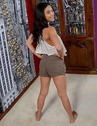 Latina amateur brunette Maya Bijou shows her gaping pussy spreading legs wide
