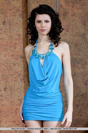 Slender dark haired glam model Swan A unveiling shaved vagina beneath dress