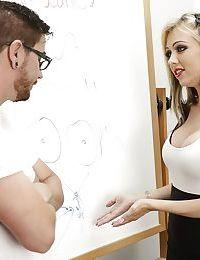 Hot blonde Jeannie Marie Sullivan taking cumshot on pretty face