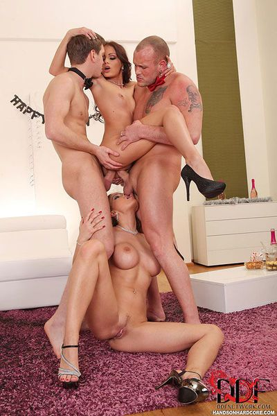 Clothed Euro moms Abbie Cat & Sophie Lynx undress for DP in foursome sex - part 2