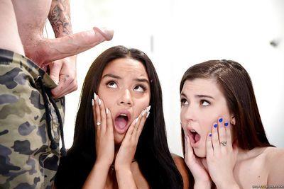Cute teens Jenna Reid and Maya Bijou taking jizz on faces after big cock BJ