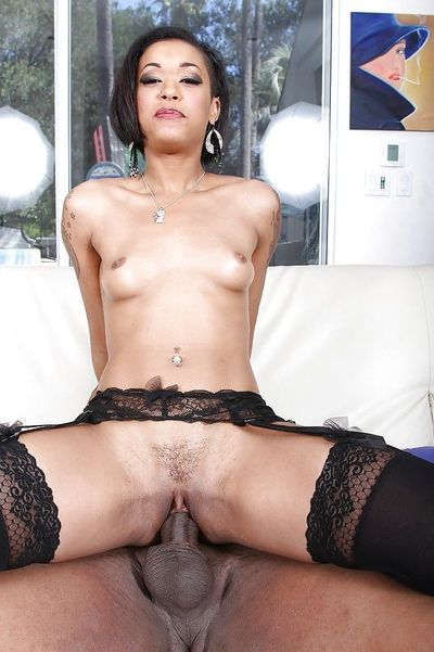 Leggy ebony in stockings is having an awesome black sex with BBC - part 2
