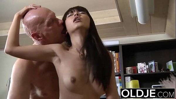Asian Young Babe Fucked by bald old man she sucks dick pussy sex swallows HD
