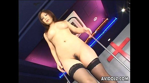 Japanese pole dancer pleases herself