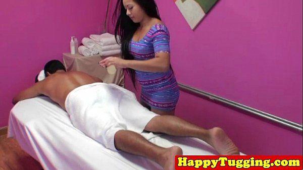 Inked asian handjob massage HD