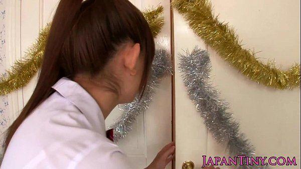 Tiny schoolgirl Mayu Nozomi loves threeway HD