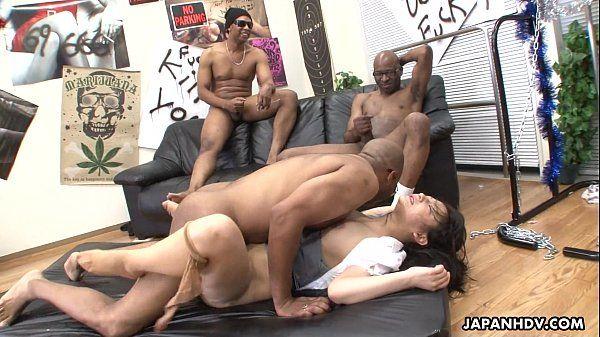 Three black men destroy the Asian sluts pussy HD