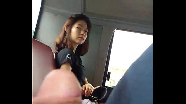 beautiful girl look man jerking dick in bus