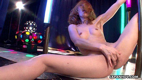 Asian stripper getting wild on the pole as she masturbates HD