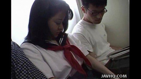 Japanese teen in school uniform has threesome Uncensored