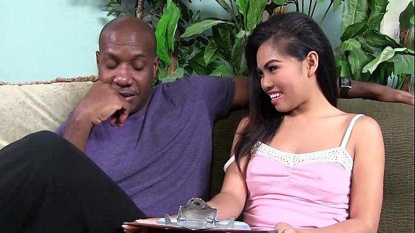 Asian gets interracial with big black cock