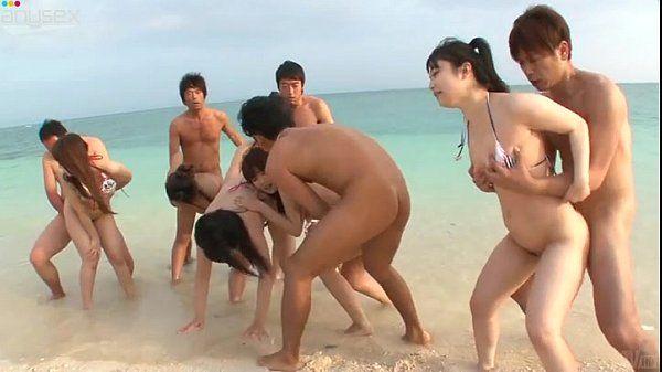 Japanese Group Beach Sex!!