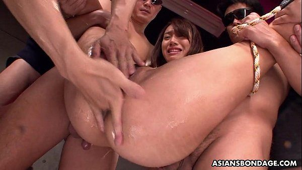 Small titty Asian slut bdsm treated by the fellas