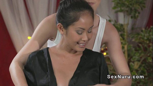 Blonde masseuse licks Asian babe HD