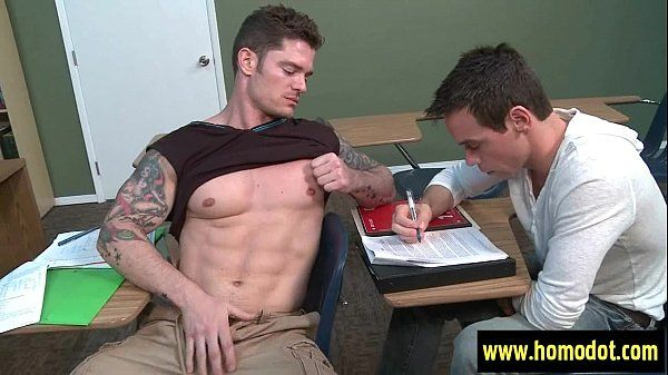 Big Dicks At School . Cock massage in gay porn video