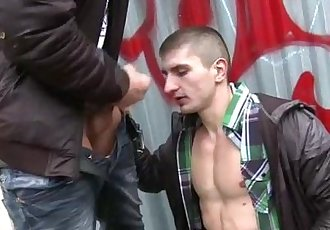 Gay amateur gets cumshot outdoors