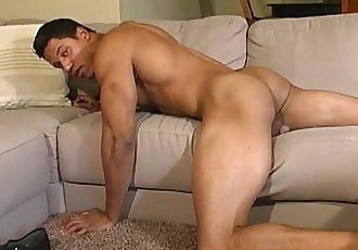 GAY latin men shows off his hot masculine rock body and his uncut cock