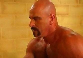 Hairy muscled daddy bears fiery anal attack session in prison