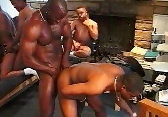 Black studs have hot group sex