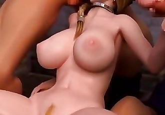 Blonde Hentai 3D Monster cock