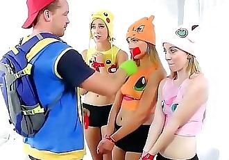 Pokemon Go XXX parody with three awesome teen chicks 6 min HD