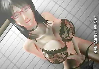 3D anime chick in glasses toy twat