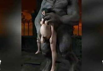 Dark Demon Vs Tamaki Extreme Stomach Bulge Anal Penetration Cum Inflation
