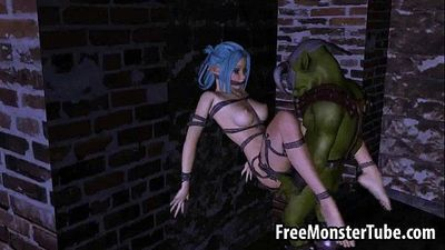 Tied up 3D elf babe getting fucked hard by an orc - 3 min