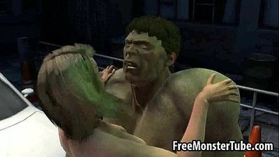 Foxy 3D blonde babe gets fucked hard by The Hulk3-high 1 - 3 min