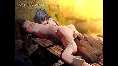 Tied up hentai sex slave gets cunt licked on table - 5 min