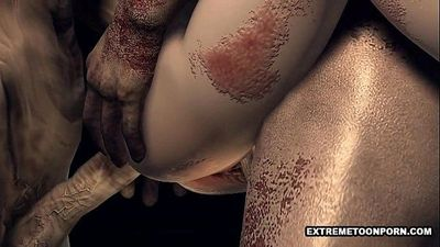 Foxy 3D cartoon zombie babe gets a double teaming - 5 min HD