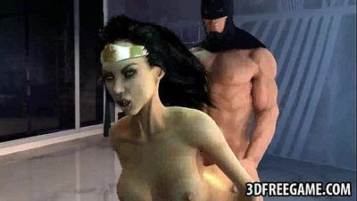 Hot 3D cartoon Wonder Woman gets fucked by Batman - 2 min