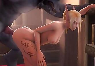 Elf and Werewolf 3D Hentai