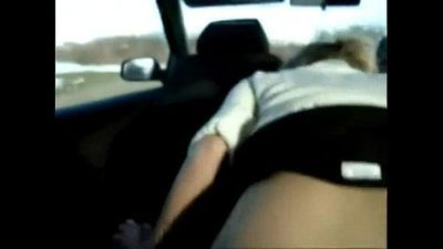 Me-my cute white gf Heather fucking me in car back seat after work till both cum - 9 min