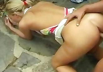 A blonde German chick goes anal