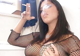Sunny Leone Smoking whites