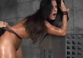Slut gets tied and fucked and receives a creampie 14 sec