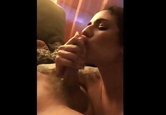 TEEN GIVES SLOPPY BLOWJOB WHILE SMOKING WEED